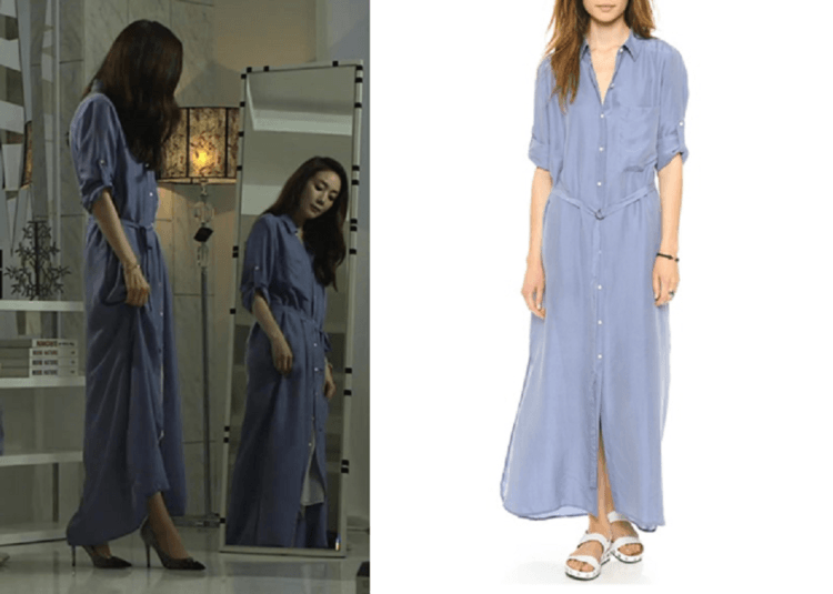 shirtdress maxi biru