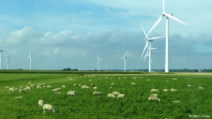 Taman energi angin di dekat perbatasan dengan Denmark.