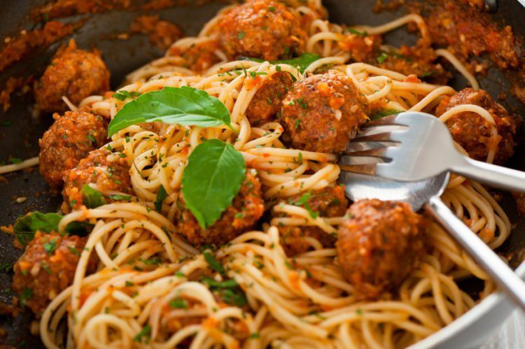 Original Italian spaghetti with meatballs in tomato sauce