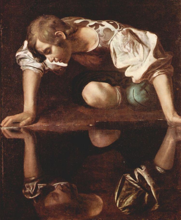 Ilustrasi Narkissos yang mencintai bayangannya sendiri.