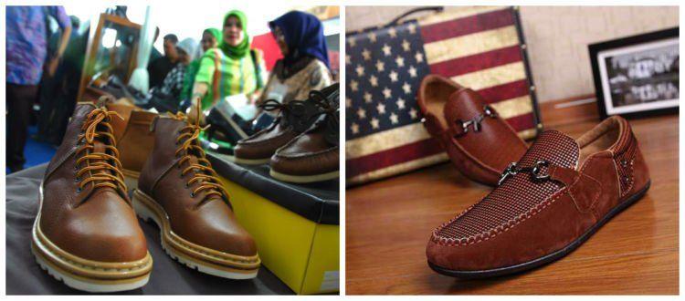Sepatu kulit Cibaduyut (aslicibaduyutbandung.blogspot.com) vs sepatu kulit impor (tokopedia.com).