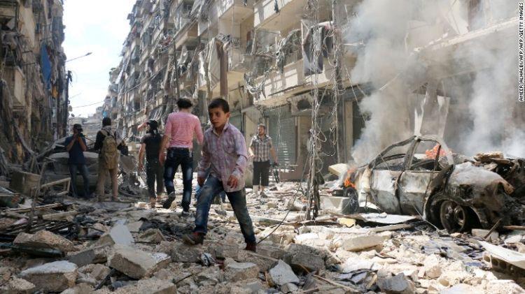 Aleppo yang porak poranda.