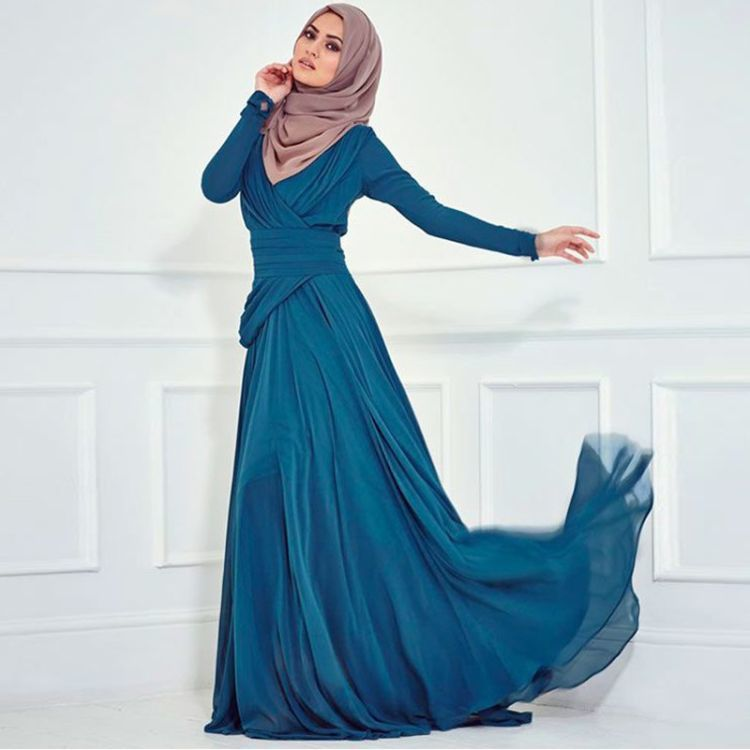 elegant-long-sleeved-long-chiffon-ruffles-font-b-turquoise-b-font-dresses-evening-dress-for-muslim