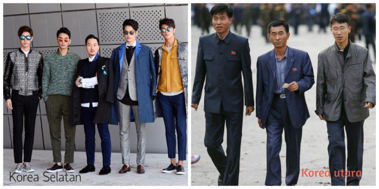 Korsel menjadi salah satu trend fashion yang mendunia. Sementara korut lebih suka pakai baju militer