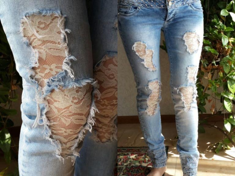 Рваные джинсы с кружевами