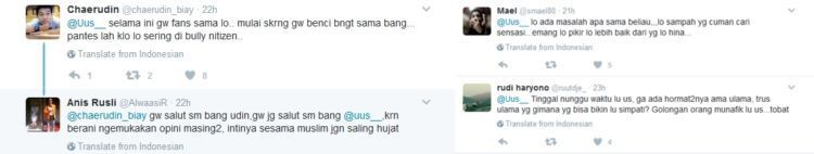 Komentar netizen di Twitter Uus