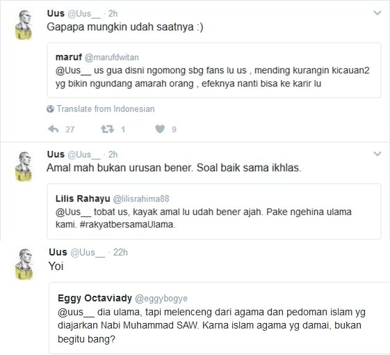 Jawaban Uus terhadap komentar netizen