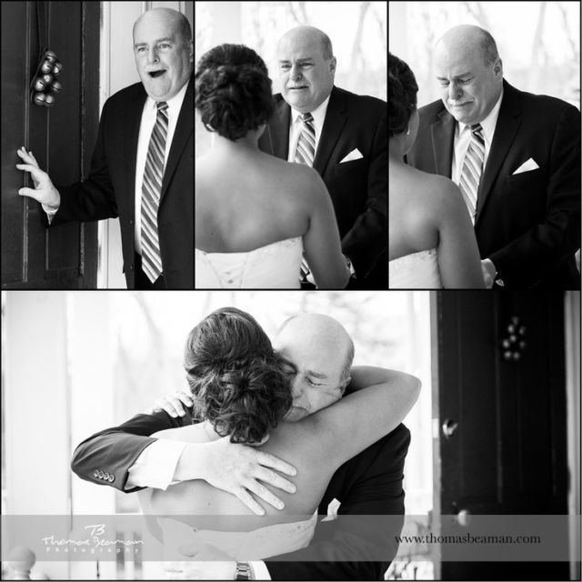 first look between bride and dad