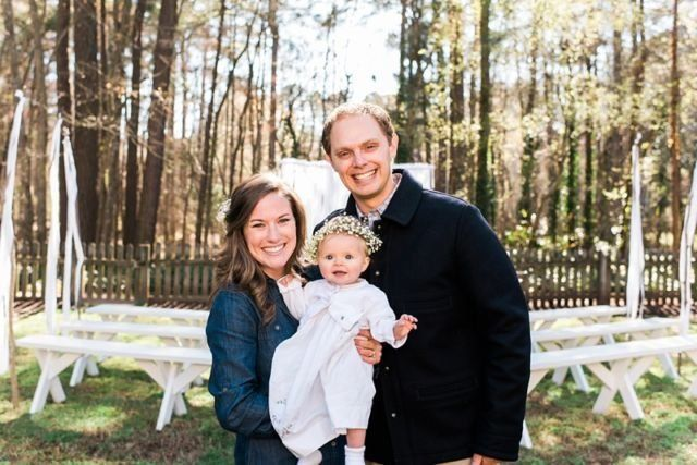 hosts intimate backyard baby dedication event for their daughter.