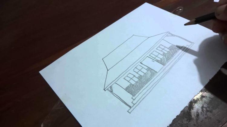 menggambar rumah, orang, pohon