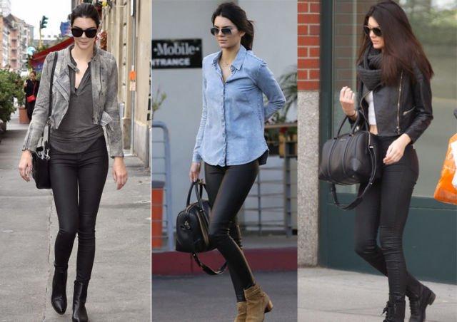 Kendall Jenner in Skinny Black Trouser