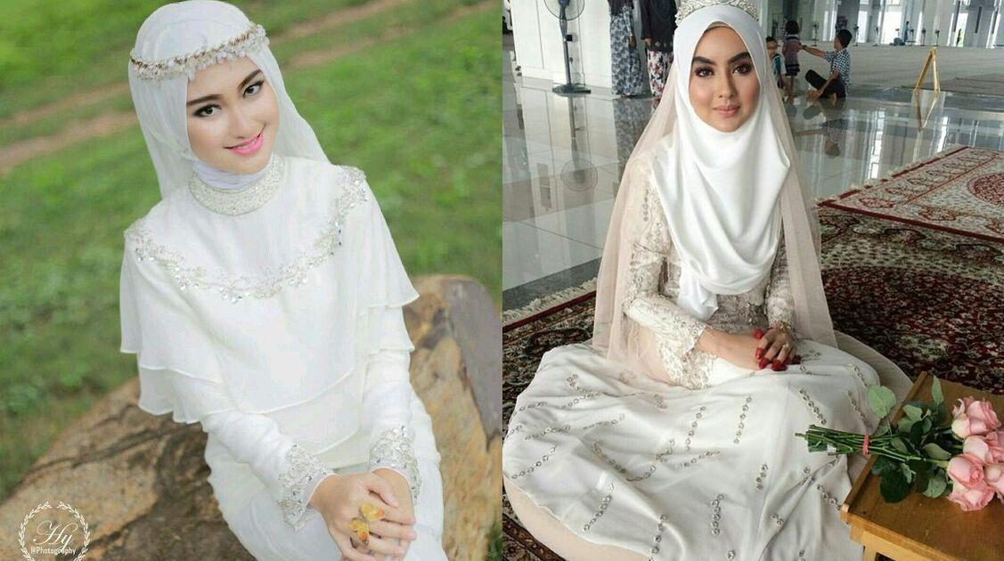14 Inspirasi Gaun Pengantin Syar i Berwarna Putih Tampil