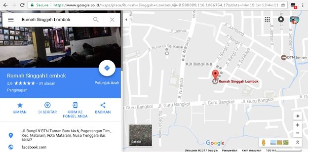 maps rumah singgah lombok