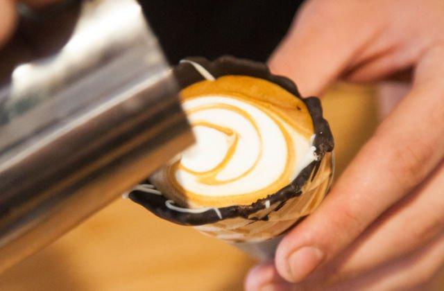 latte art on #coffeeinacone