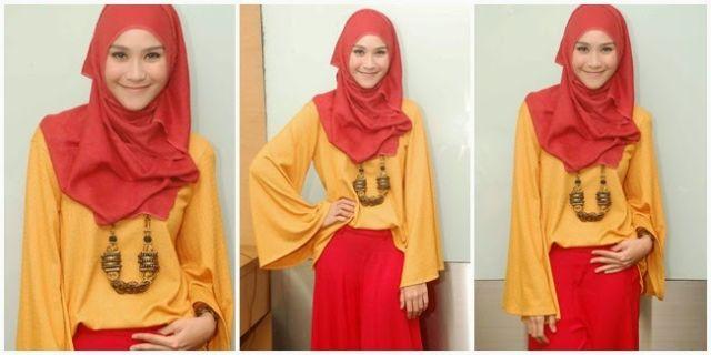 Hijab fashionable dengan kalung