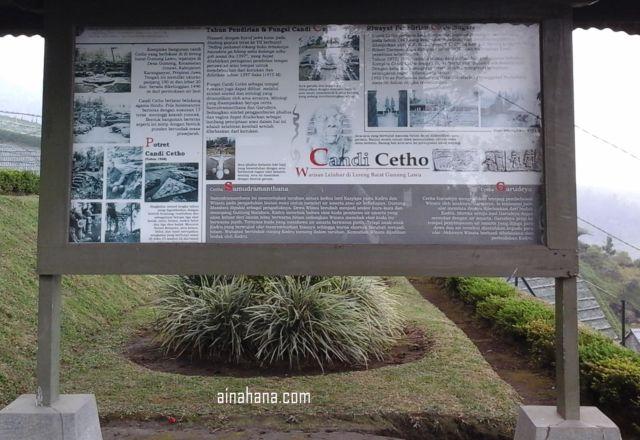 Sejarah Candi Cetho tertulis lengkap di sebuah papan