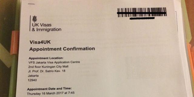 Print out email appointment untuk dibawa ke VFS